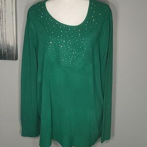Laura Scott green sweater with rhinestone decorati